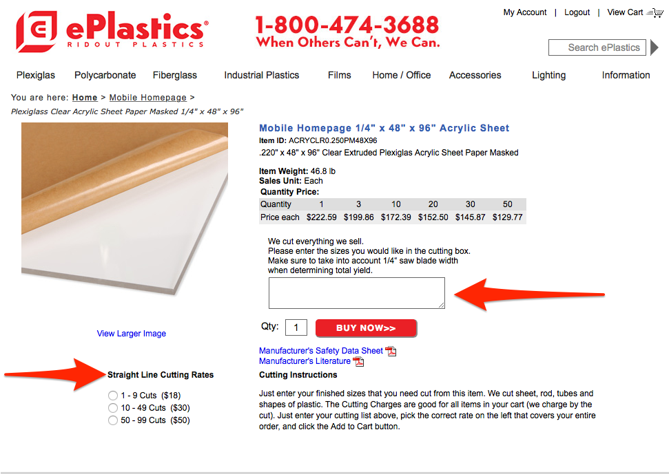ePlastics® Order Information Screen Shot