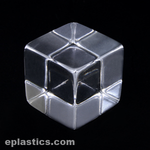 clear acrylic square cube 375 at eplastics. Black Bedroom Furniture Sets. Home Design Ideas